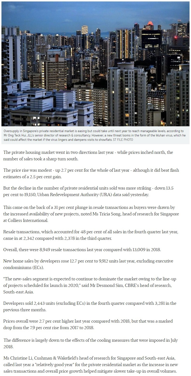 Urban Treasures - Singapore private home prices inch up 2.7% for 2019 Part 1