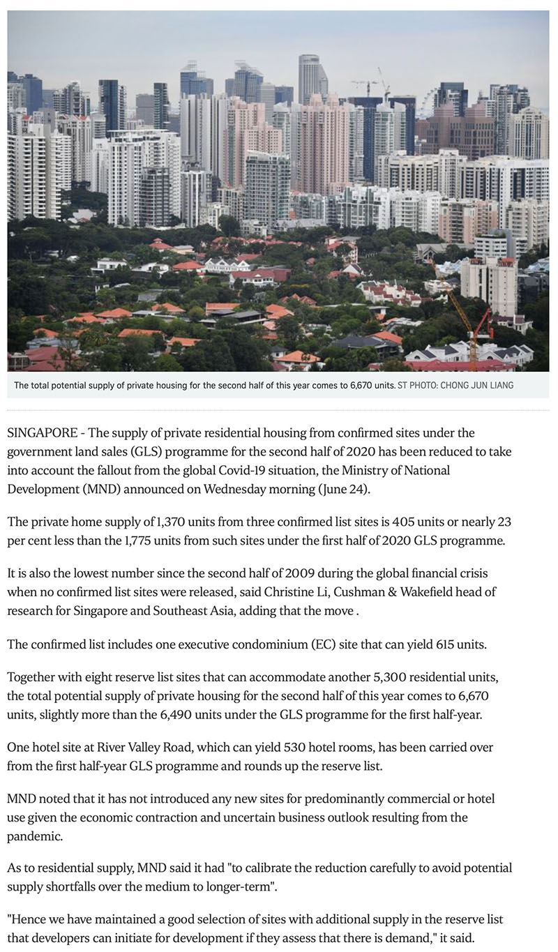 Govt cuts private housing supply from confirmed land sale sites due to Covid-19 fallout Part 1